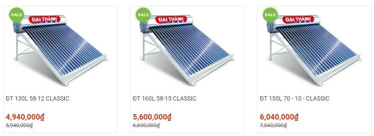 Tân Á Đại Thành có nhiều dòng máy nước nóng năng lượng mặt trời giá rẻ
