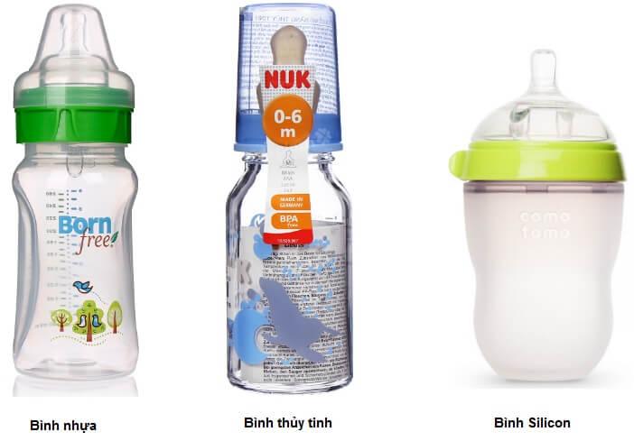 Bình sữa có thể là nhựa cứng, thuỷ tinh hoặc Silicon