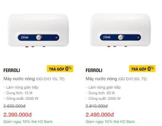 Máy nước nóng Ferroli giá rẻ