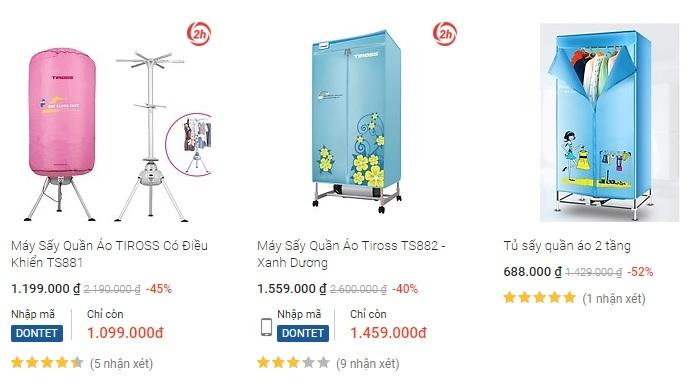 Giá một số dòng tủ sấy quần áo ở Tiki