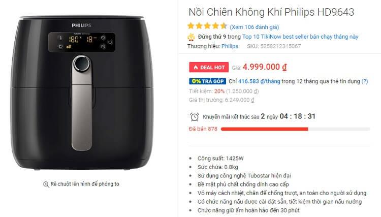 Nồi chiên không dầu Philips HD9643 được đánh giá rất cao