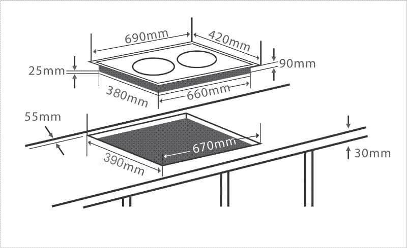 Mua bếp từ âm bạn phải so sánh kích thước bếp và vị trí lắp đặt