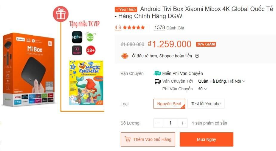 Xiaomi Mibox nhận được hàng nghìn đáng giá 5 sao từ khách hàng trên Shopee